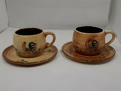 Vtg Pennsbury Pottery Red Rooster Tea/coffee Cup And Saucer Red/brown - Set Of 2