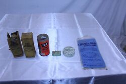 Lot Of 6 Vintage Collectible Advertising Items Hoppe's Tech Pflueger Hook Tin