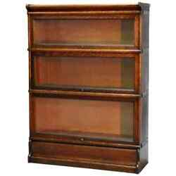 Antique Arts And Crafts Mission Oak Three Stack Barrister Bookcase, Circa 1910