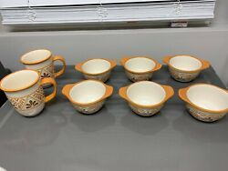 8 Total Items Bobby Flay Retired Floral Scrolls Mugs And Small Bowls