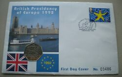1992-1993 British Presidency Of Europe 50 Pence First Day Coin Cover Pnc