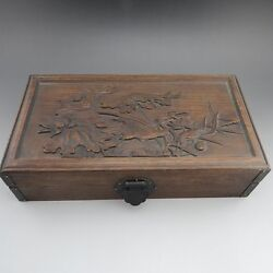 China, Wood, Hand-carved, Flowers And Birds, Letter Box K89