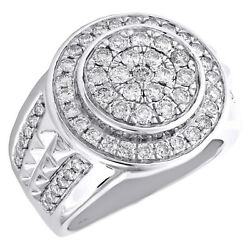 10k White Gold Round Diamond Domed Tier Statement Band 20mm Mens Pinky Ring 2 Ct
