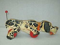 Vintage Fisher Price Wooden Large Snoopy Dog Spotted Clicking Pull Toy 780
