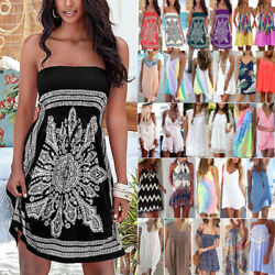 Womens Summer Casual Short Mini Dress Beach Bikini Cover Up Swimwear Sundress $15.19