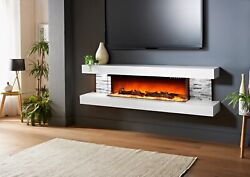 Floating Led Electric Fireplace 72andrsquoandrsquo And Remote Control With Logs And Crystals