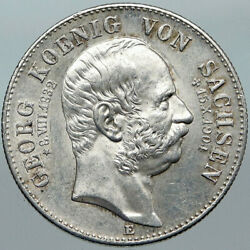 1904e German States Saxony King George Vintage Antique Silver 2 Mark Coin I88385