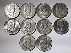 Collection Of Franklin Half Dollars 10 Fifty Cent Coins  Mg