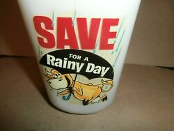 Vintage Save For A Rainy Day Glass 1/2 Gallon Milk Bottle Bank Save 200.00 Top