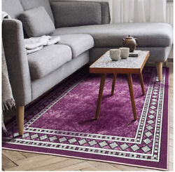 Modern Bordered 5x7 Non Slip Low Profile Pile Rubber Backing Indoor Area Rug