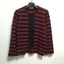 Robe Comme Des Garcons Striped Design Knit Wool One Size Red Black Women D3771