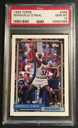 1992 Shaquille Oand039neal Topps Rookie 362 Psa 10 Magic Hof 264