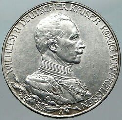 1913a Germany German States Prussia Wilhelm Ii Antique Silver 3 Mark Coin I88433