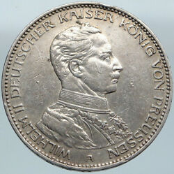 1914a Germany German States Prussia Wilhelm Ii Antique Silver 3 Mark Coin I88105