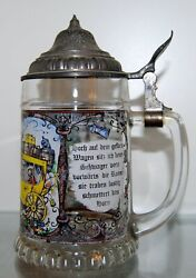 Vintage Bmf Painted Glass Beer Stein Mug With Pewter Lid Made In W Germany