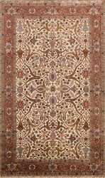 Vegetable Dye Floral Agra Oriental Ivory Area Rug Handmade Classic Carpet 6and039x9and039