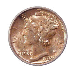 1925-d 10c Icg Ms 66 Mercury Dime With Near Full Bands