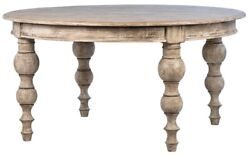 60 Sandro Round Dining Table Solid Wood Reclaimed Pine Turned Legs Natural Wash