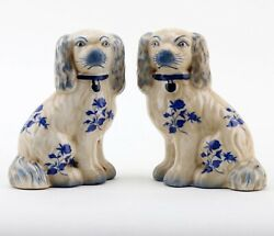 Staffordshire King Charles Blue Floral Spaniel Dog Pair Small Figurines 5 1 2 in