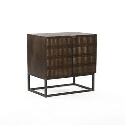 25 W Small 2 Door Nightstand Linear Carving Solid Mango Wood Open Iron Base