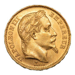Authentic France 20 Franc 1866 Napoleon Iii Empereur Coin Gold K22yg