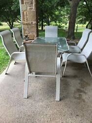 Vintage Outdoor Patio Furniture Dining Set, Table And 6 Chairs