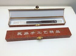 Silver Handcrafted Wood Chopsticks Southwest China 999
