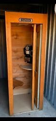1970s Vintage Telephone Booth, 30x30x83 Original Booth , Lined In Cedar.