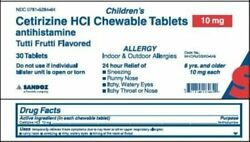Sandoz Childrenand039s Cetirizine Hcl Chewable Tablets 10mg | 30 Ct | Pack Of 10