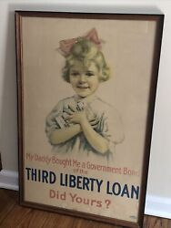 My Daddy Bought Me Government Bond Poster Third Liberty Loan Little Girl 1917