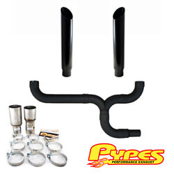 7 Miter Cut Black Double Stack Stainless Pypes Exhaust Kit Ram 2500 3500 Diesel