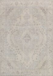Muted Semi-antique Tebriz Distressed Hand-knotted Area Rug Evenly Low Pile 10x12