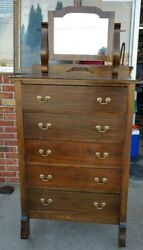 Antique Rare Old Highboy Chest Circa 1940and039smahogany Beech Maple And Walnut