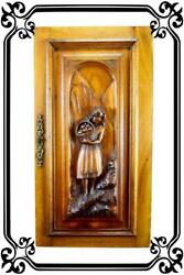 Vintage French Antique Hand Carved Wood Cupboard Door