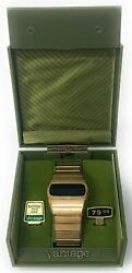 Working Vantage By Hamilton Led Menandrsquos Digital Watch Gold Plate Date Box Manual