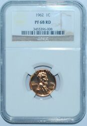 1962 Ngc Pr68rd Red Proof Strike Lincoln Cent