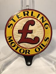 Original 1930s Sterling Motor Oils Lubester Paddle Sign Gas Oil New Old Stock