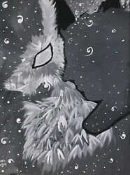 Acrylic Canvas Painting Depicting A Man And A Wolf, The Paintings Name Is Shift.