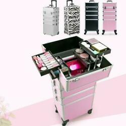 Aluminum 3 in1 4 in 1 Rolling Makeup Trolley Case Box Organizer Salon Cosmetic $85.99