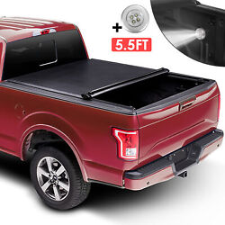 5.5 Ft Bed Roll Up Soft Tonneau Cover For 09-20 Ford F-150 Truck And Lamp On Top