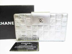 Authentic Icon Collection Silver Lamb Skin Bifold Long Wallet 8308