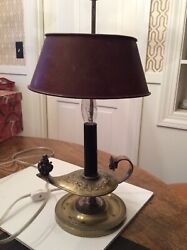 Vintage/antique Brass Genie Lamp W Tole Shade,miniature Size,collectible