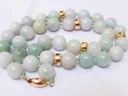 Vintage Chinese 14k Gold Beads And Clasp Natural Jade Beads Necklace