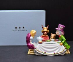 Halcyon Days Porcelain Alice In Wonderland Mad Hatter Tea Party Coin Bank W Box