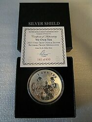 2015 1oz Silver Shield We Own You Members Only .999 F.s. Rev Proof Medallion