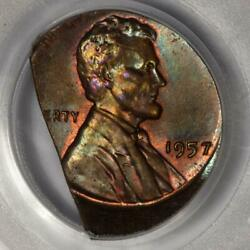 1957 Pcgs Ms65 10 Off Center On 32 Straight End Clip Wheat Cent Mint Error Wow
