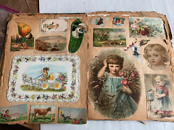 Antique 1890andrsquos Victorian 48 Pages Scrapbook Of Advertising Cardsdie Cuts Calif