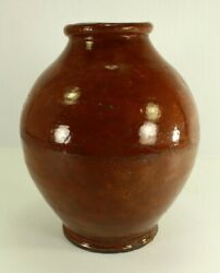= Antique 18th/19th C. Redware Pottery Jar Ovoid Form Connecticut New England