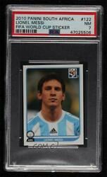 2010 Panini Fifa World Cup South Africa Album Stickers Lionel Messi 122 Psa 7