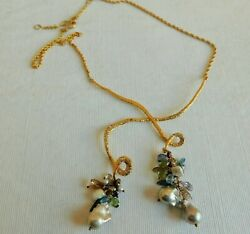Awesome Vintage Alex Bittar Grey Pearl Cluster And Gold Tone Necklace